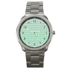 Crown King Triangle Plaid Wave Green White Sport Metal Watch