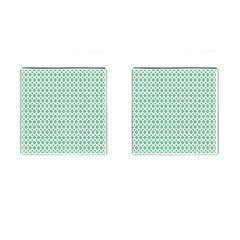 Crown King Triangle Plaid Wave Green White Cufflinks (Square)