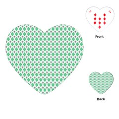 Crown King Triangle Plaid Wave Green White Playing Cards (Heart)