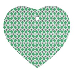 Crown King Triangle Plaid Wave Green White Heart Ornament (Two Sides)