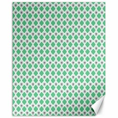 Crown King Triangle Plaid Wave Green White Canvas 16  x 20