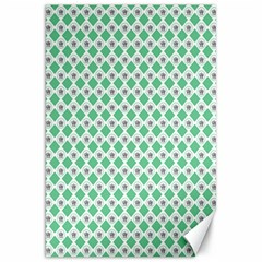 Crown King Triangle Plaid Wave Green White Canvas 20  x 30