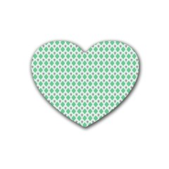 Crown King Triangle Plaid Wave Green White Heart Coaster (4 pack)