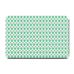 Crown King Triangle Plaid Wave Green White Small Doormat