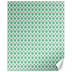 Crown King Triangle Plaid Wave Green White Canvas 11  X 14
