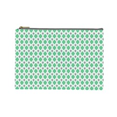 Crown King Triangle Plaid Wave Green White Cosmetic Bag (Large)