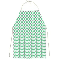 Crown King Triangle Plaid Wave Green White Full Print Aprons