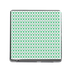 Crown King Triangle Plaid Wave Green White Memory Card Reader (Square)