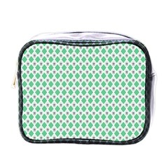 Crown King Triangle Plaid Wave Green White Mini Toiletries Bags