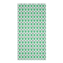Crown King Triangle Plaid Wave Green White Shower Curtain 36  x 72  (Stall)