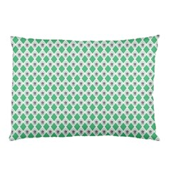 Crown King Triangle Plaid Wave Green White Pillow Case (Two Sides)