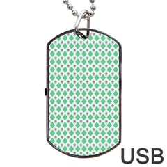 Crown King Triangle Plaid Wave Green White Dog Tag USB Flash (Two Sides)