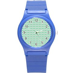 Crown King Triangle Plaid Wave Green White Round Plastic Sport Watch (S)