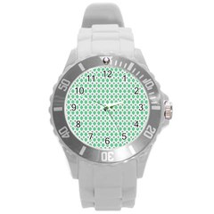 Crown King Triangle Plaid Wave Green White Round Plastic Sport Watch (L)