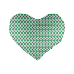 Crown King Triangle Plaid Wave Green White Standard 16  Premium Heart Shape Cushions