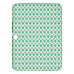 Crown King Triangle Plaid Wave Green White Samsung Galaxy Tab 3 (10.1 ) P5200 Hardshell Case