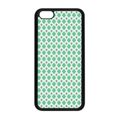 Crown King Triangle Plaid Wave Green White Apple iPhone 5C Seamless Case (Black)