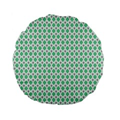 Crown King Triangle Plaid Wave Green White Standard 15  Premium Flano Round Cushions