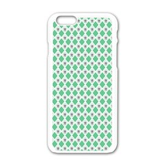 Crown King Triangle Plaid Wave Green White Apple iPhone 6/6S White Enamel Case