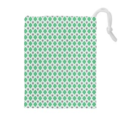 Crown King Triangle Plaid Wave Green White Drawstring Pouches (extra Large)