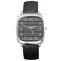 Myria Wrapping Paper Black Square Metal Watch