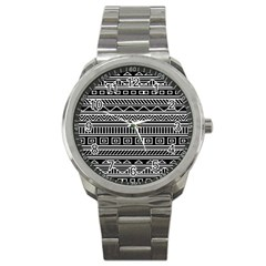 Myria Wrapping Paper Black Sport Metal Watch