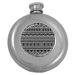 Myria Wrapping Paper Black Round Hip Flask (5 oz)