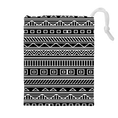 Myria Wrapping Paper Black Drawstring Pouches (Extra Large)