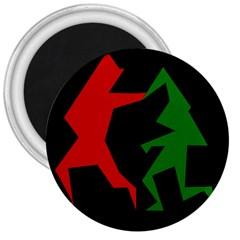 Ninja Graphics Red Green Black 3  Magnets
