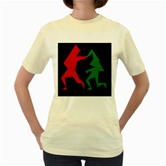 Ninja Graphics Red Green Black Women s Yellow T-Shirt