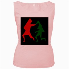 Ninja Graphics Red Green Black Women s Pink Tank Top