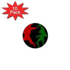 Ninja Graphics Red Green Black 1  Mini Buttons (10 pack)