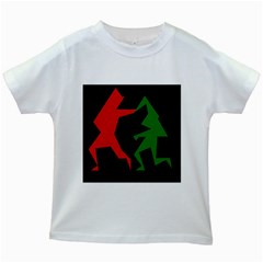Ninja Graphics Red Green Black Kids White T Shirts