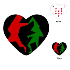 Ninja Graphics Red Green Black Playing Cards (Heart)