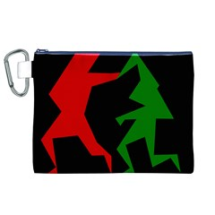 Ninja Graphics Red Green Black Canvas Cosmetic Bag (XL)