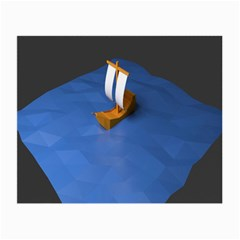 Low Poly Boat Ship Sea Beach Blue Small Glasses Cloth