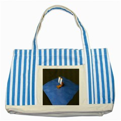 Low Poly Boat Ship Sea Beach Blue Striped Blue Tote Bag