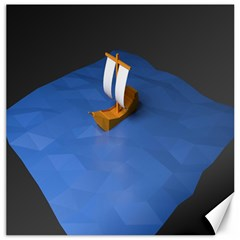 Low Poly Boat Ship Sea Beach Blue Canvas 12  x 12