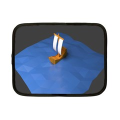 Low Poly Boat Ship Sea Beach Blue Netbook Case (Small)