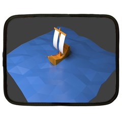 Low Poly Boat Ship Sea Beach Blue Netbook Case (Large)
