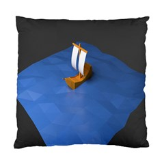 Low Poly Boat Ship Sea Beach Blue Standard Cushion Case (Two Sides)