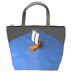 Low Poly Boat Ship Sea Beach Blue Bucket Bags