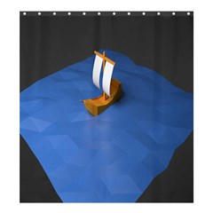 Low Poly Boat Ship Sea Beach Blue Shower Curtain 66  x 72  (Large)