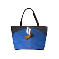 Low Poly Boat Ship Sea Beach Blue Shoulder Handbags