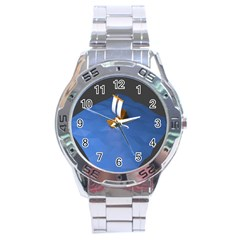 Low Poly Boat Ship Sea Beach Blue Stainless Steel Analogue Watch