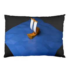 Low Poly Boat Ship Sea Beach Blue Pillow Case (two Sides)