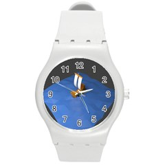 Low Poly Boat Ship Sea Beach Blue Round Plastic Sport Watch (M)