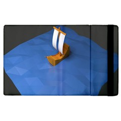 Low Poly Boat Ship Sea Beach Blue Apple iPad 3/4 Flip Case