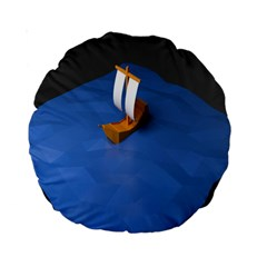 Low Poly Boat Ship Sea Beach Blue Standard 15  Premium Round Cushions
