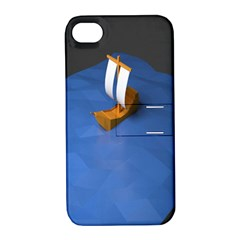 Low Poly Boat Ship Sea Beach Blue Apple iPhone 4/4S Hardshell Case with Stand